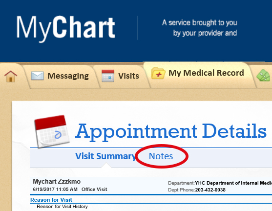 Shared notes in mychart yale health